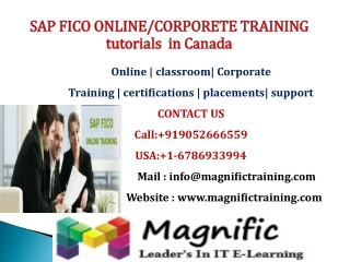 SAP FICO ONLINE-CORPORETE TRAINING  tutorials  in Canada