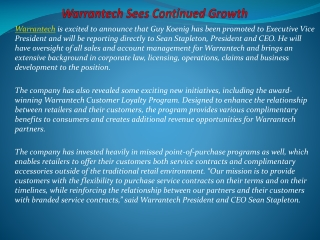Warrantech Sees Continued Growt
