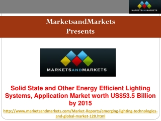 Research Report on Solid State and Other Energy Efficient Lighting Systems Market.