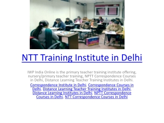 NTT Training Institute in Delhi