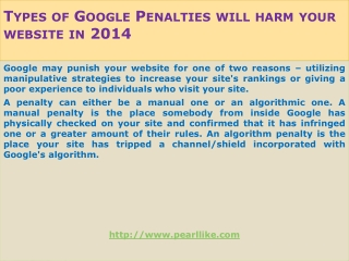 Types of Google Penalties will harm your website in 2014