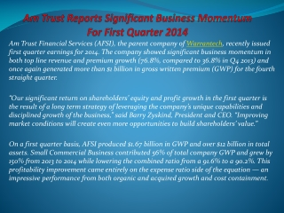 AmTrust Reports Significant Business Momentum For First Quar