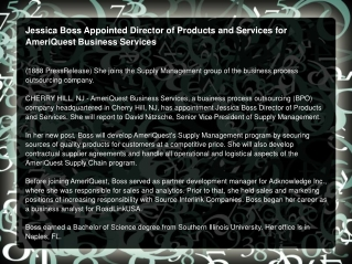 Jessica Boss Appointed Director of Products and Services