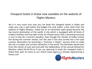 Find Cheapest Hotels Dubai