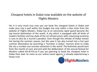 Find Cheapest Hotels Dubai