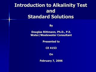 introduction to alkalinity test and  standard solutions
