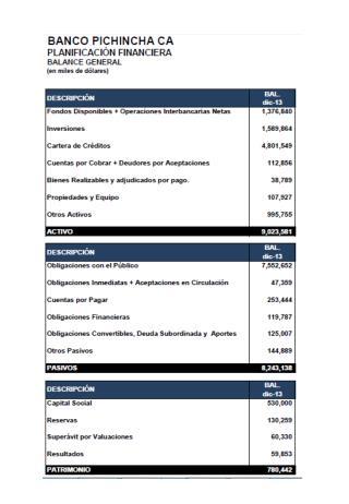 Banco Pichincha. Planificación financiera y resultados 2013
