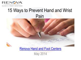 Hand Surgeons Give Best Tips for Preventing Hand Pain