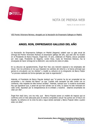 Ángel Ron, empresario gallego del año