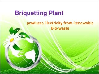Briquette Plant produces Electricity from Renewable Bio-wast