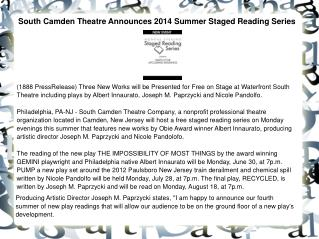 South Camden Theatre Announces 2014 Summer Staged Reading