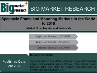 Spectacle Frame and Mounting Markets in the World to 2018 -