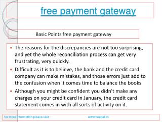 Services directory of free payment gateway