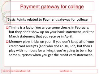 PPT related about Payment gateway for college