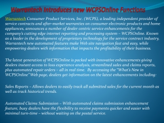 Warrantech Introduces new WCPSOnline Functions