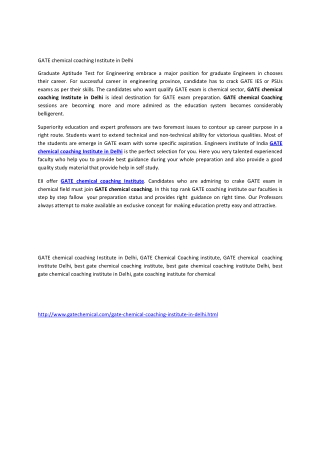 GATE chemical coaching Institute