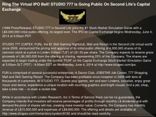 Ring The Virtual IPO Bell! STUDIO 777 is Going Public