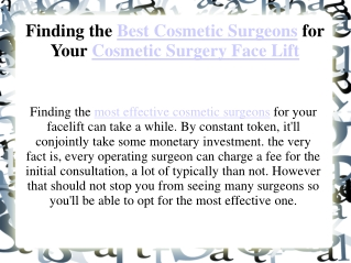 Finding the Best Cosmetic Surgeons for Your Cosmetic Surgery