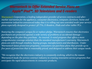 Warrantech to Offer Extended Service Plans on Apple® iPad™,