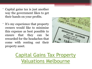 Melbourne Capital Gains Tax Property Valuers