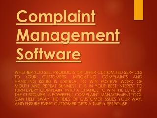 Online Complaints Management System