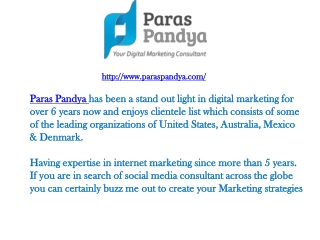 Paras Pandya - Internet Marketing Consultant