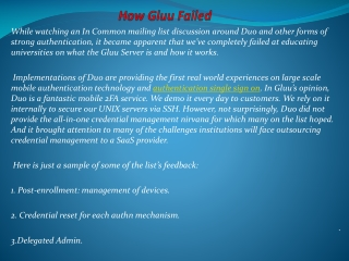 How Gluu Failed