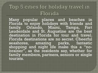Florida top destinations for tourists