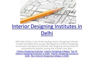 Interior Designing Institutes in Delhi