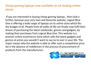 Cheap gaming laptops now available on all leading online sto
