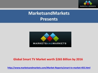 Global Smart TV Market worth $265 Billion by 2016