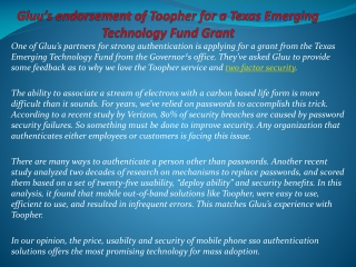 Gluu's endorsement of Toopher for a Texas Emerging Technolo