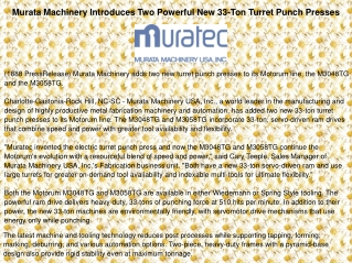 Murata Machinery Introduces Two Powerful New 33
