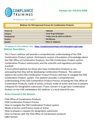 Webinar On FDA Approval Process for Combination Products