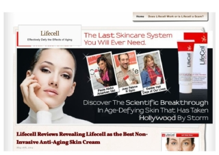 Lifecell Cream Making the Quest of Anti-Aging Non-Invasive