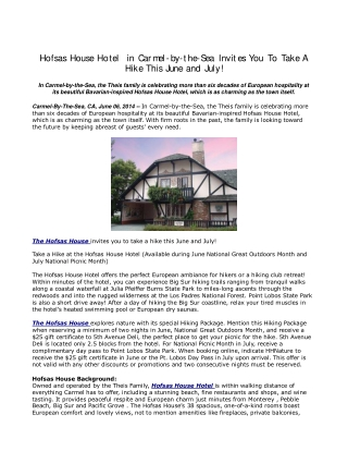 Hofsas House Hotel in Carmel-by-the-Sea Invites You to take