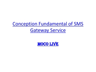 Conception Fundamental of SMS Gateway Service via Moco Live