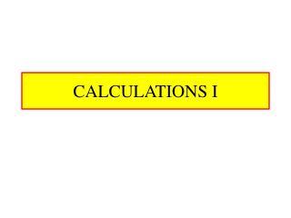 calculations i