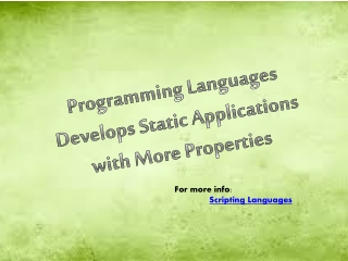 Programming Languages Develops Static Applications with More