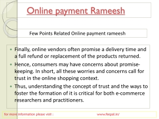Some fundamental of online payment  ramessh