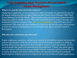 Packt Publishing Book Proposal: API and Mobile Access Manage