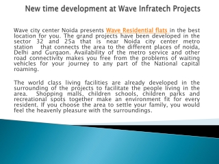 Wave City Center Residential Projects Noida