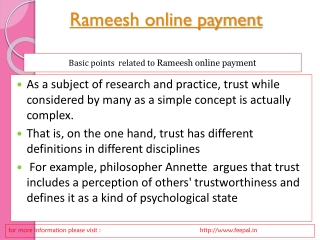 Knowledge related rameesh online payment