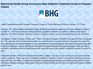 Behavioral Health Group Announces New Addiction