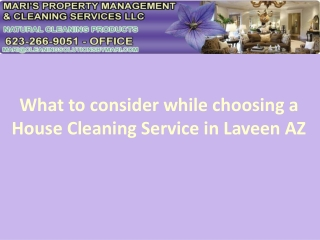 Choosing a House Cleaning service in Laveen AZ