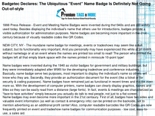 "Badgetec Declares: The Ubiquitous ""Event"""