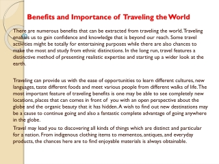 Benefits and Importance of Traveling the World