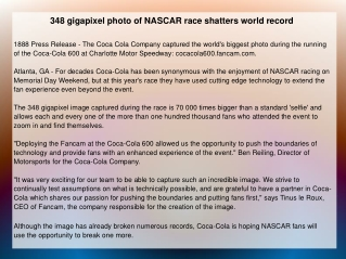 348 gigapixel photo of NASCAR race shatters world record