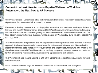 Corcentric to Host New Accounts Payable Webinar on Workflow
