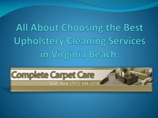 upholstery cleaning services in Virginia Beach